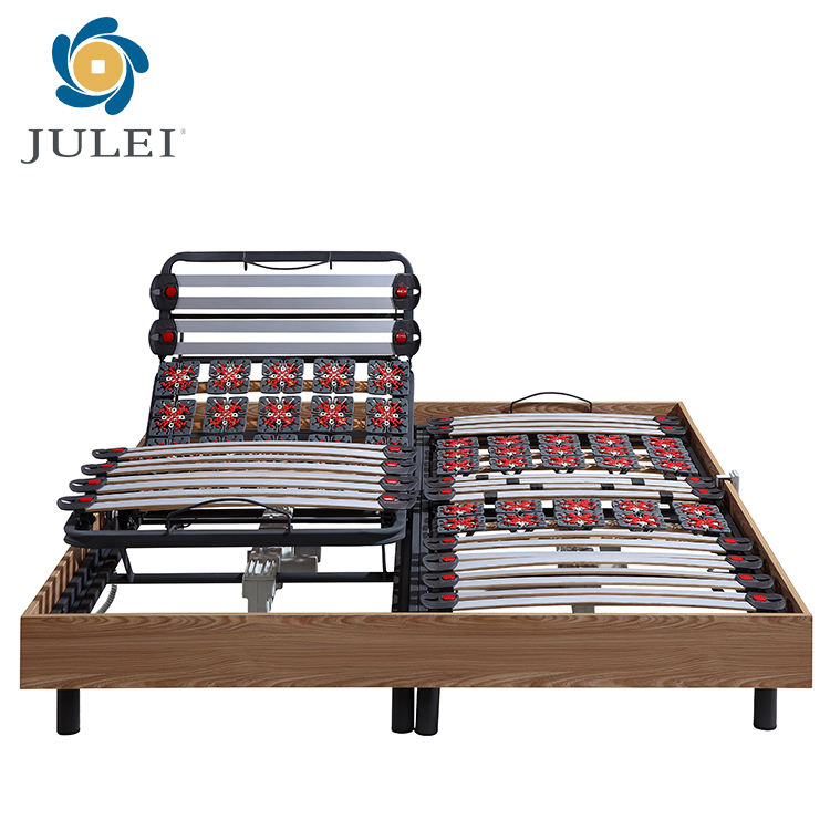 High end wooden slate electric adjustable remote bed mechanism frame