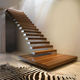 Stair Treads Floating Staircase/hidden Cantilever Stairs/enter Wall Type Stair With Glass Step Wood Treads