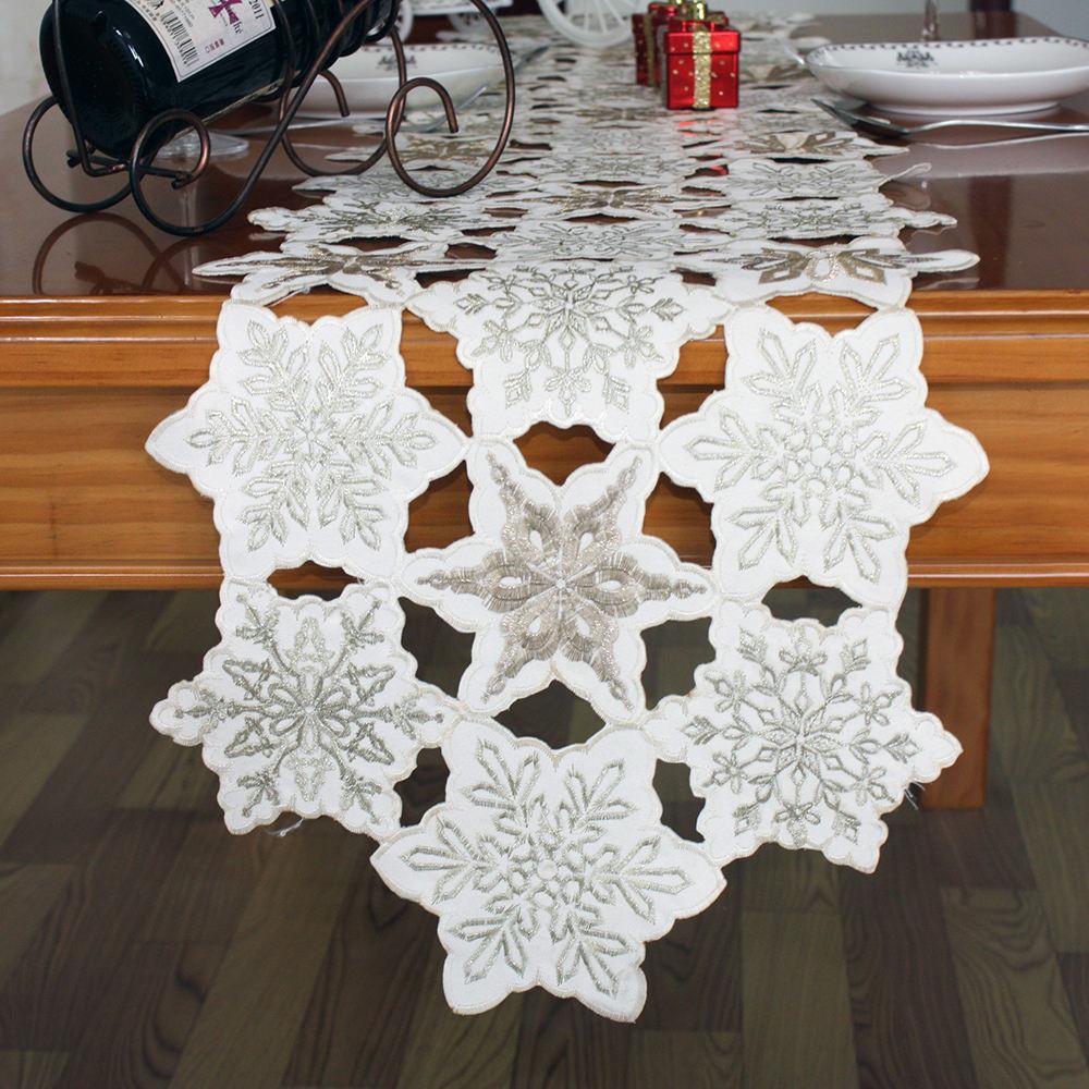 Diseños de Navidad iluminado nieve mancha tela bordada camino de mesa