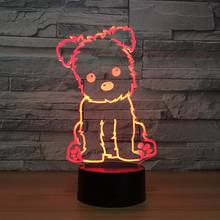 Dog Night Kids Toy 3D Touch Table Lamp 7 Colors Flashing LED Light Home Decorations Party Gift