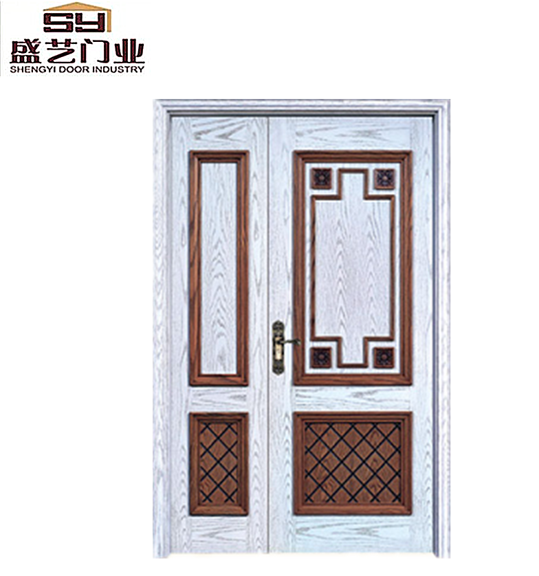 Luxury front mian wood door one and half design