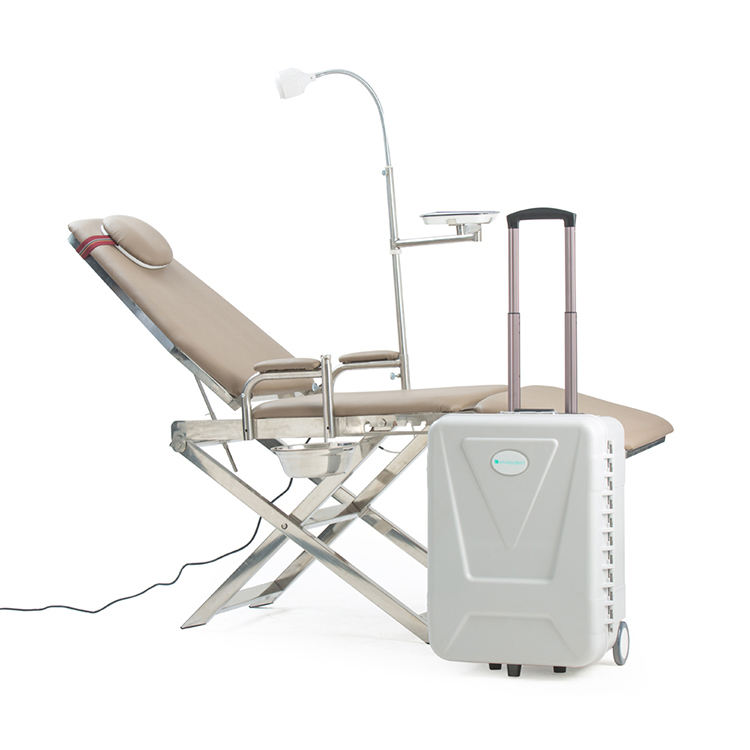 China Manufacturers Folding Dental Equipment Chair Portable Dental Chair With Operation Light