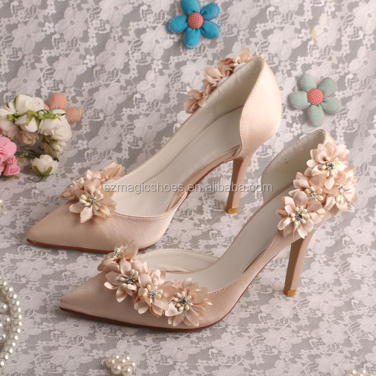 Champagne Or <span class=keywords><strong>Chaussures</strong></span> De Mariage Fleur