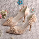 Champagne Gold Wedding Shoes Flower
