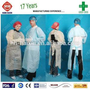Aami nivel 4 CPE impermeable vestido de / sobre vestido cabeza / del pulgar con cordones vestido