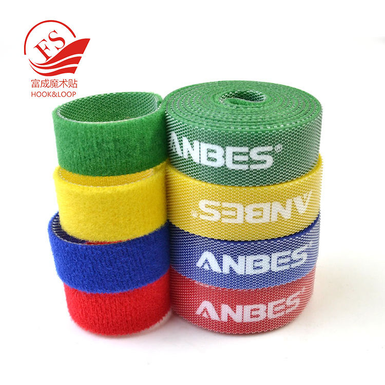 Shenzhen supplier custom colors hoop and loop double side tape with logo printing