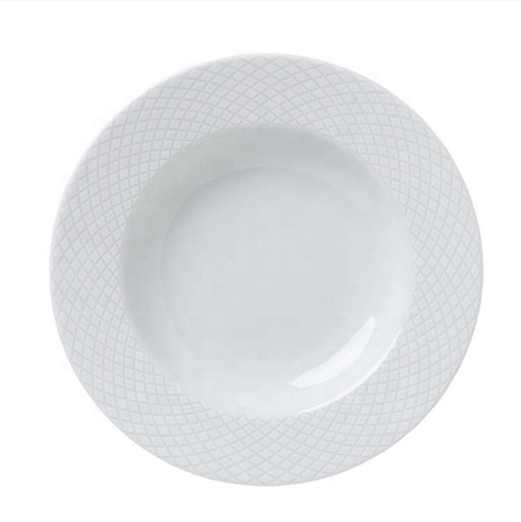 Wholesale round shaped cheap deep buffet stoneware pasta plate