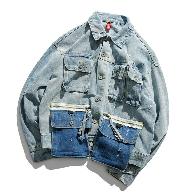 Men's retro casual denim jackets for spring/fall 2019 men's men's Korean version of the trend loose-fitting multi-pocket jackets