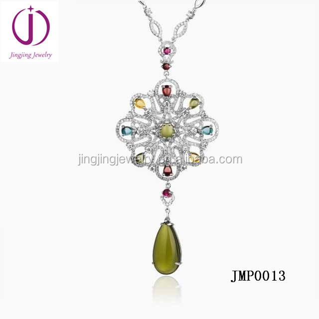 Flower Design Pendant Colorful Mixed Stones Tourmaline based on 925 Sterling Silver pendant with Signity CZ stone