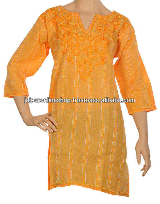Women Plus Size Tunic Top kurta kurtis Chikan Ethnic Clothing