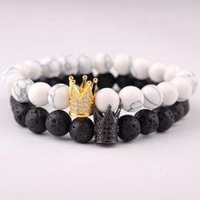 2018 New Charm Trendy Imperial Golden&Black Crown Bracelets Men Natural Stone Beads Bracelet For Women Men Jewelry Accessories