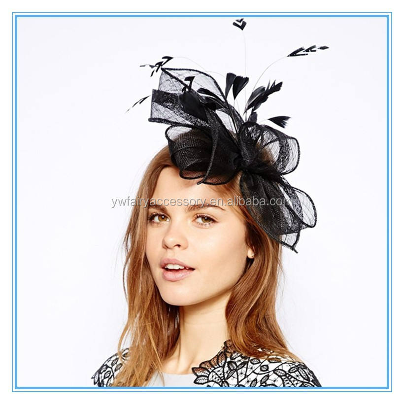 Elegant black hair feather fascinator for lady decoration Women's headpieces