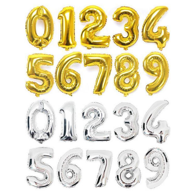 Number Balloon For Party Decoration Wholesale price 16inch gold silver black red foil inflatable helium Ballon