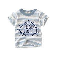 LT-TW940 Summer high quality 100% cotton toddler unisex t shirt with stripe in stock /OEM Custom Design