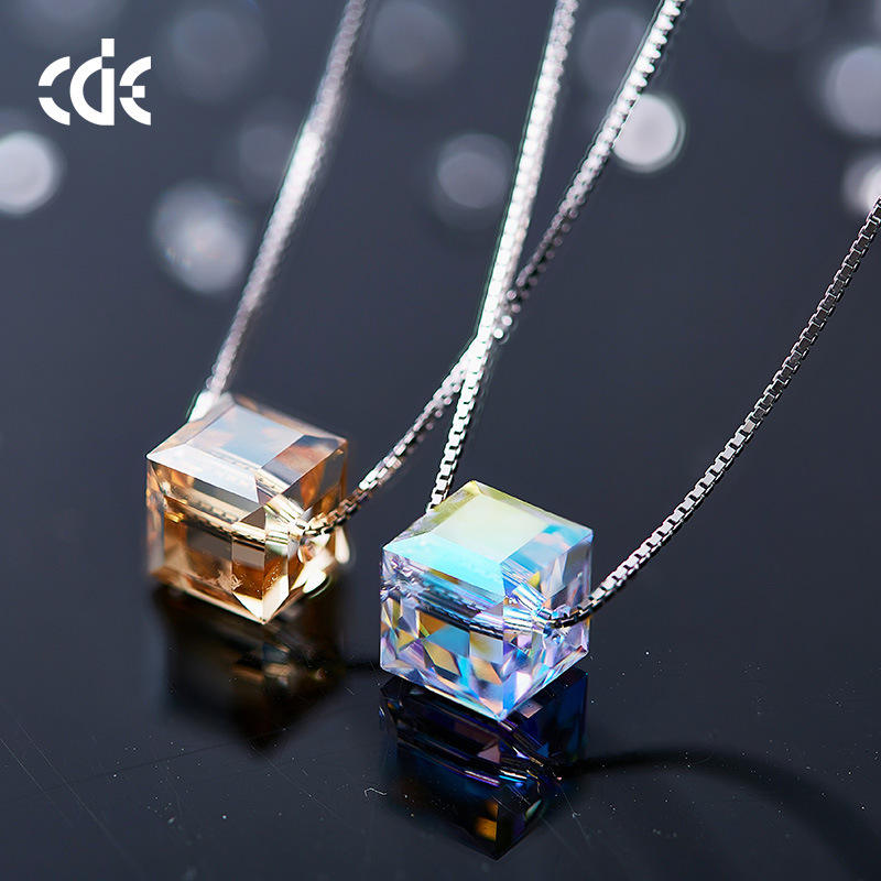 Embellished with crystals from Swarovski Custom 925 Sterling Silver Cube Pendant