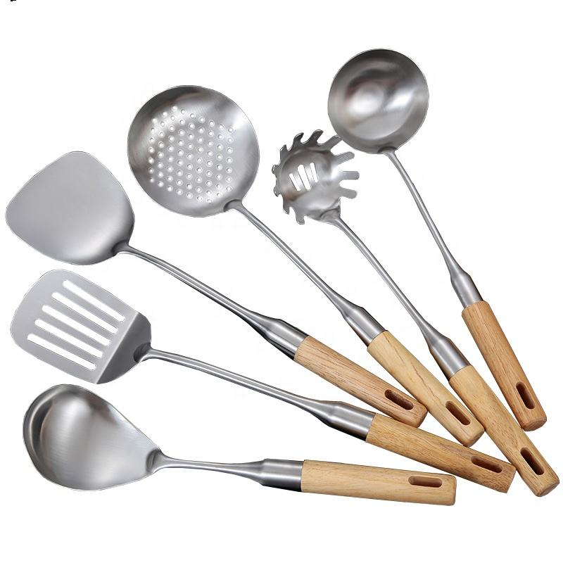 Kitchen Utensil Set 6 pcs Premium Cooking tools with wood Handles Pasta fork, Soup Ladle, Turner, Slotted Turner