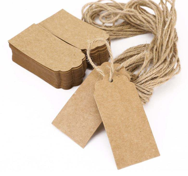 Natural Brown Kraft Paper Tags With Jute Twine For DIY Gifts Crafts Price Luggage Tags Name Tags