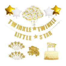 Nicro 29 Pcs Kit Glitter Twinkle Star Themed Happy Birthday Party Cake Decoration