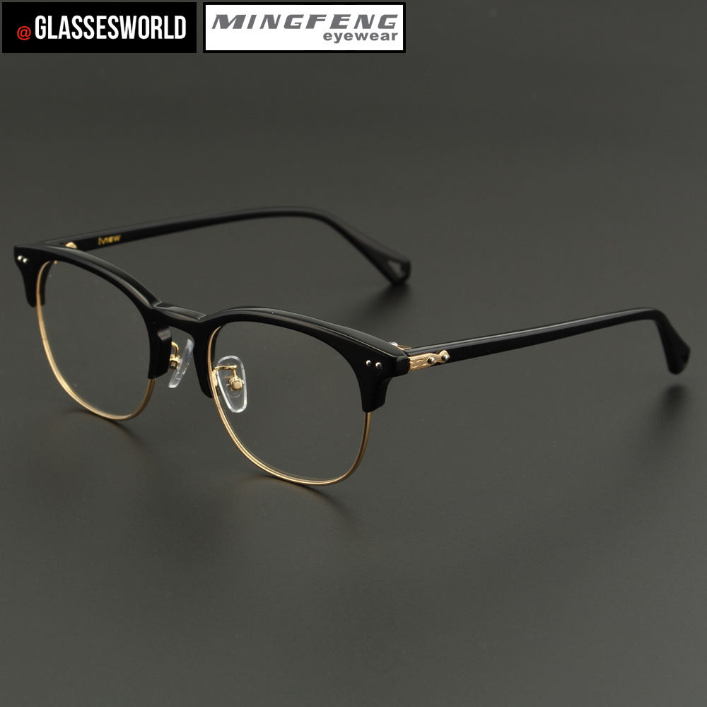 Latest model spectacle frame with combination half rim eyeglass frames usage optical CE FDA