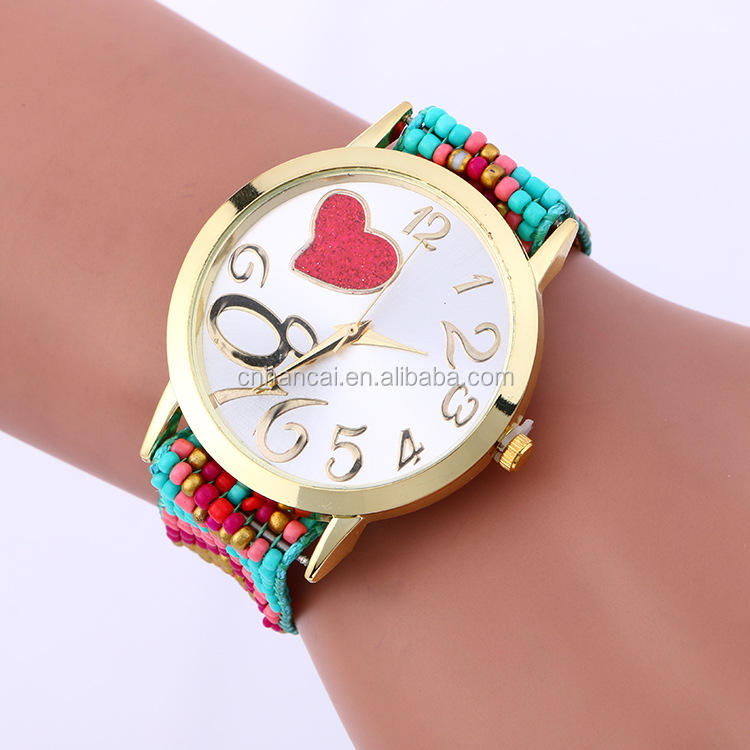 Women Bead Rope Bracelet Watches New Ladies Casual Dress Weave Love Big Number Watch Heart Style Headed Clock