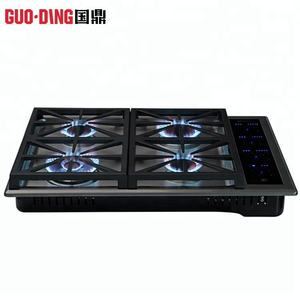 Kitchen tempered glass top blue flame cooking gas stove size / touch gas cooker stove