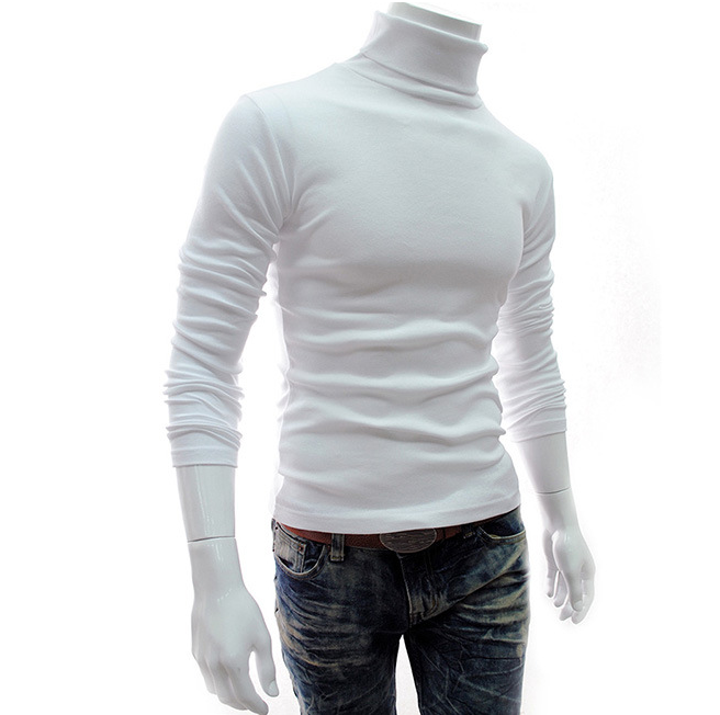 Winter Mens Bottom Shirt Long Sleeve Turtleneck Sweater