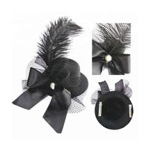 Halloween Costume Party Accessory Women's Ladies Flower Decor Hair Clip Feather Fascinator Burlesque Mini Top Hat
