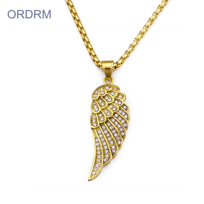 Custom Rhinestone Stainless Steel Plated Gold Angel Wings Necklace