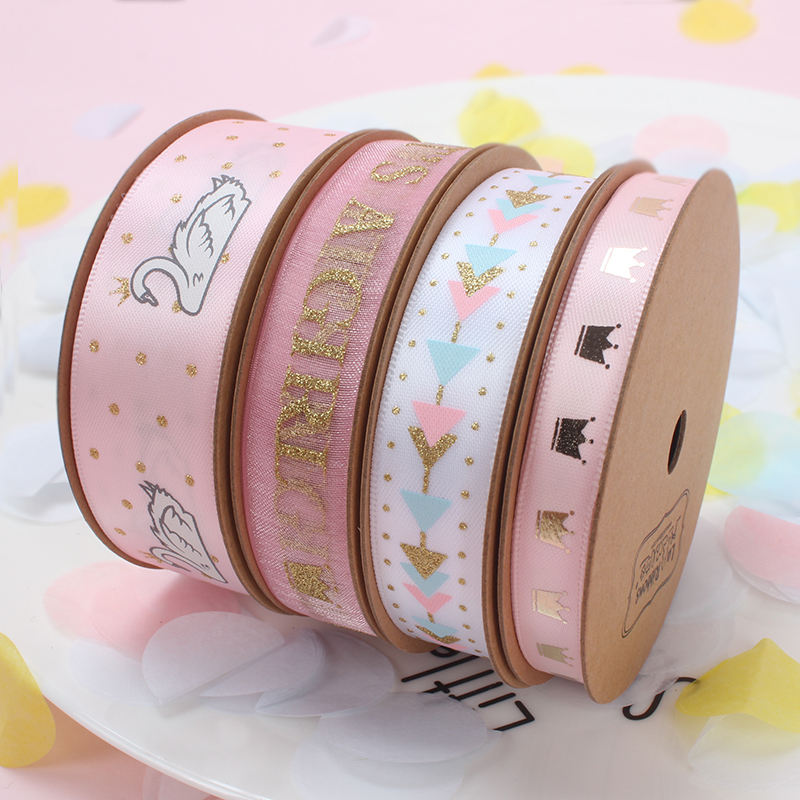 High quality princess pink decorative print satin ribbon