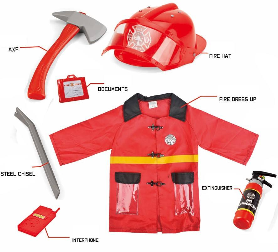 Latest Red Dressup Firefighter Costume For Kid with Fire Extinguisher and Helmet