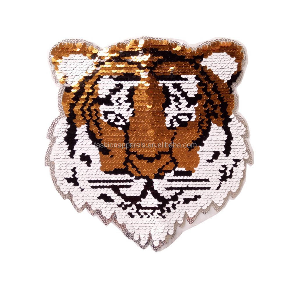 Tiger Reversible Sequins Sew On Patches for clothes Kids Boy Girl T Shirt Coat Embroidered Reverse Patch Applique