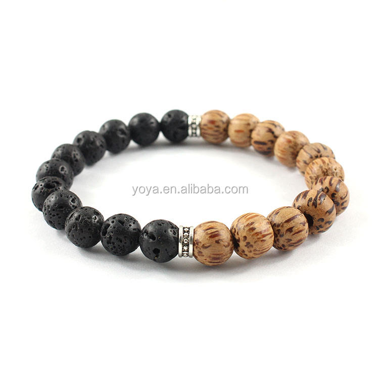 BRP1397 Whole Sale Black Lava & Wood Beads Bracelet,Lava Beads Diffuser Bracelet For Jewelry