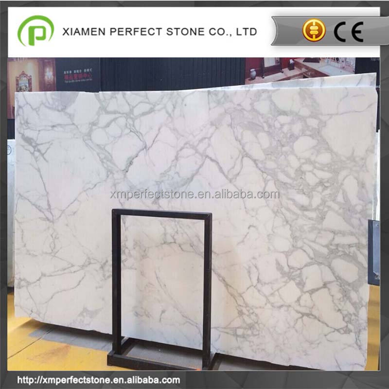 Calacatta white marble with gold veins slab with stocked prices