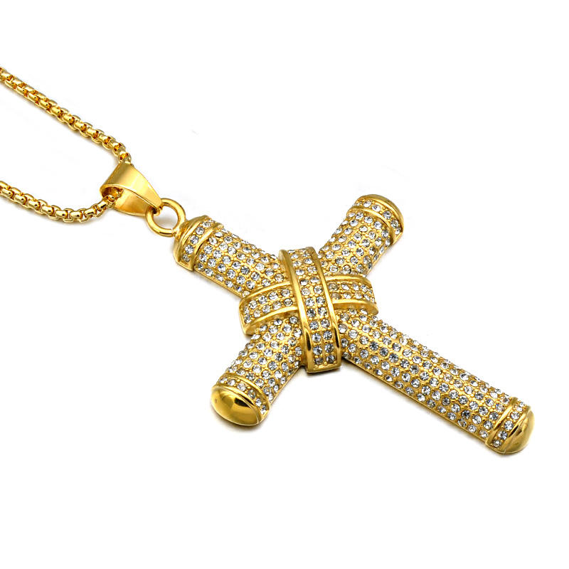 Mannen HipHop Sieraden Rhinestone Iced Out Knoop Jezus Big Cross Hanger Bling Bling Kettingen
