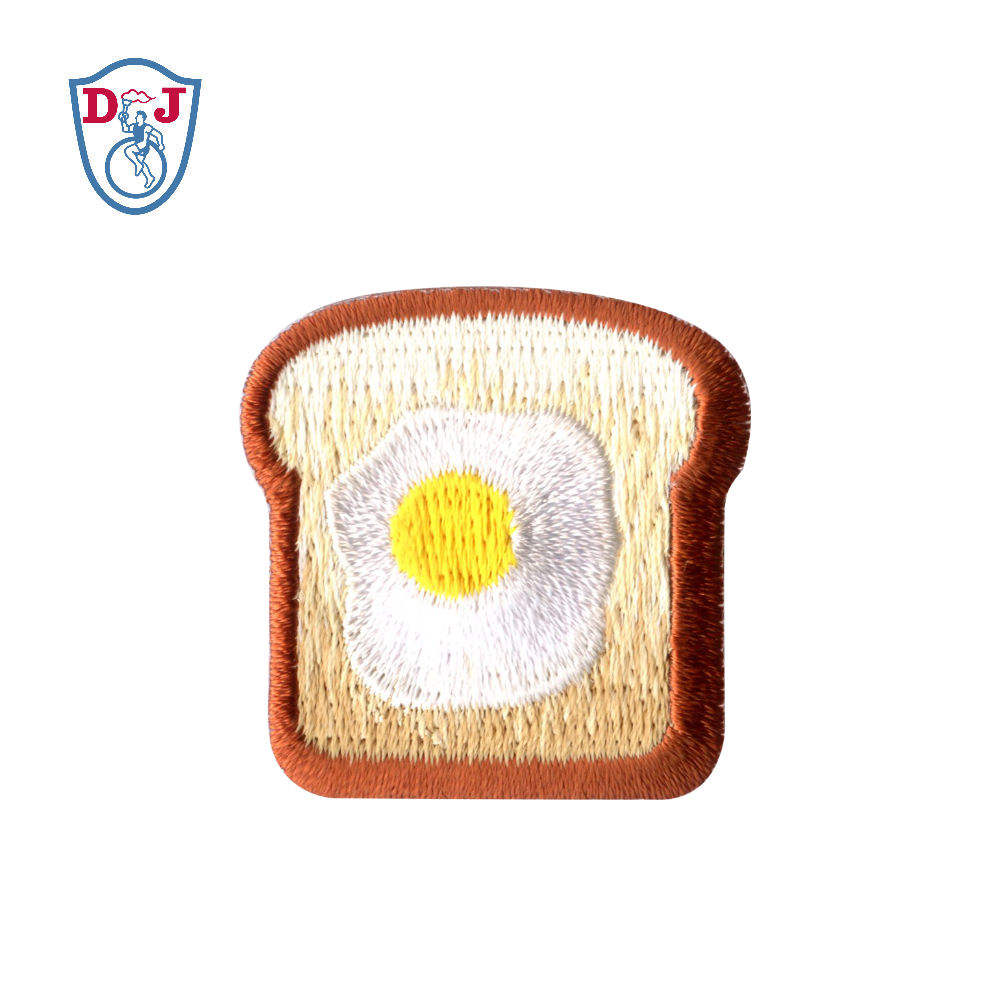 High Quality Customized Embroidered Patch Stickers Bread Design