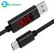 3A USB Type C Cable QC 3.0 Fast Charging LCD Voltage and Current Display Nylon Braided USB C Data Sync Cable