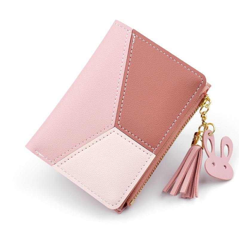 Tianqin Stylish Vertical Bifold Women Short Contract Color Tassel Wallet