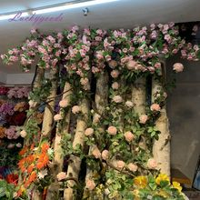 LF687 Luckygoods good quality artificial pink peach blossom branch for indoor flower arrangement