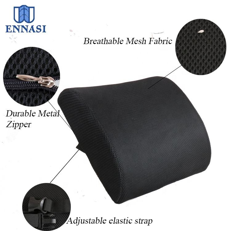 Breathable 3D Air Mesh Back Cushion Memory Foam Wedge Pillows Lumbar Back Support Cushion for Chair Lower Back Pain Relief