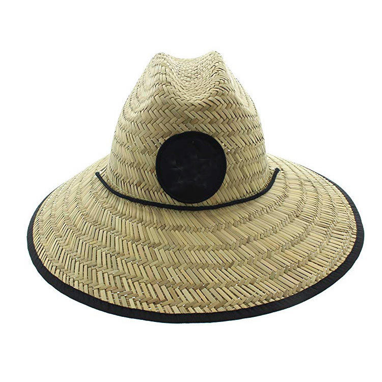 Wholesale custom straw surf bucket hat summer lifeguard natural straw cowboy hat