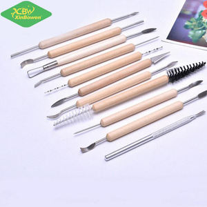 Xinbowen 11 Pcs Art Tools Set Wooden Handle Stainless Steel Double End Clay Pottery Sculpting Tool