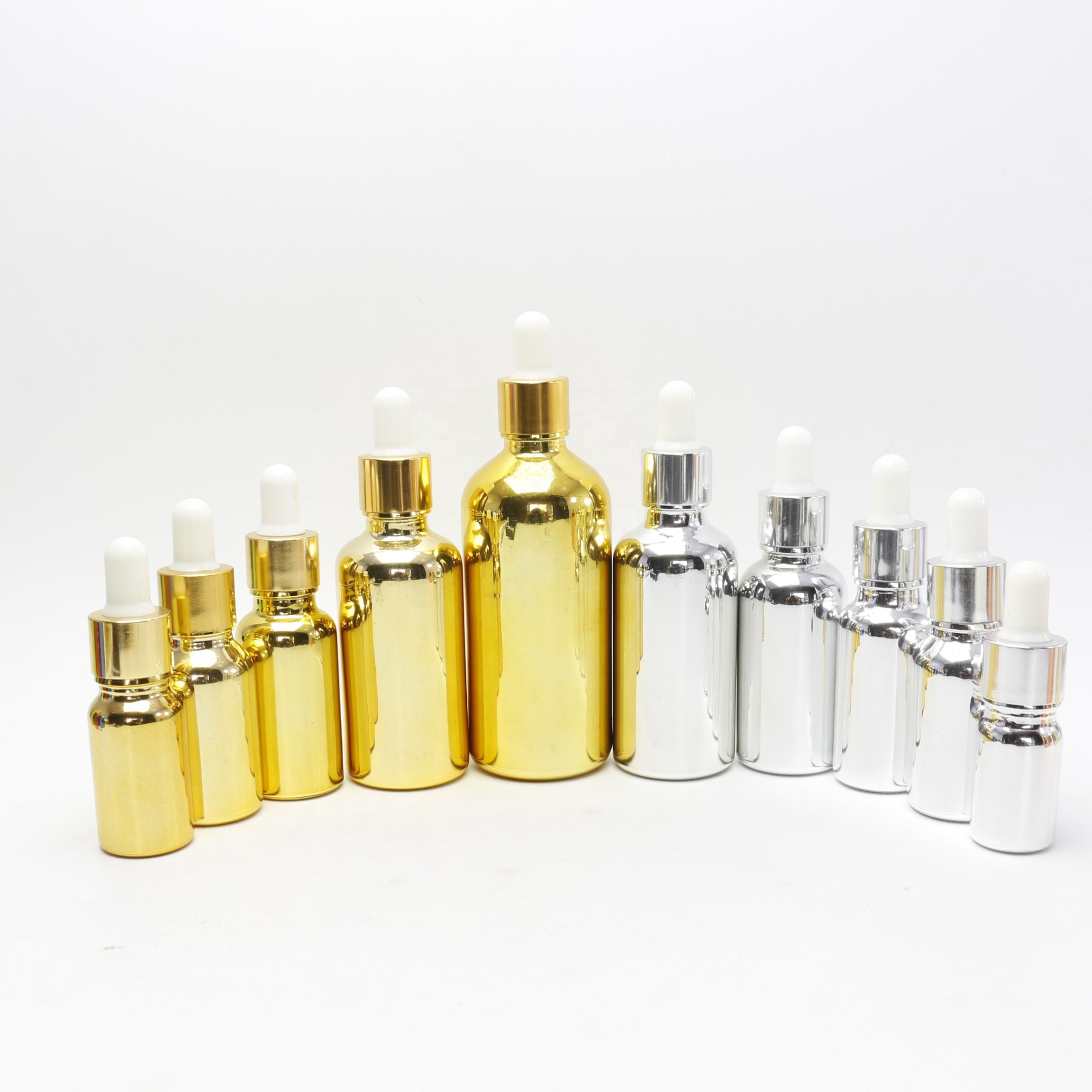 5ml 10ml 15ml 20ml 30ml 50ml 100ml shiny electroplate silver glass rose gold dropper bottles for Essential oil GB150E
