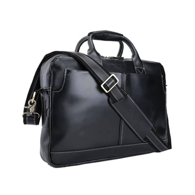 Men Genuine Leather 15 inch máy tính xách tay bag Business Briefcase Messenger Tote Bag