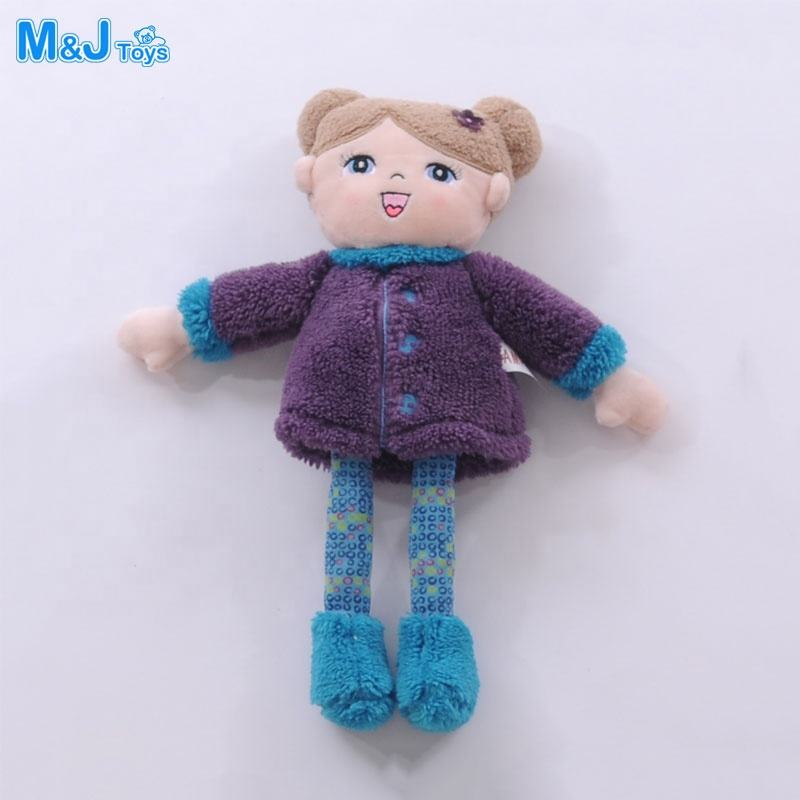 plush girls rag doll polka dot dress bow tie accessories yarn hair custom doll manufacturer