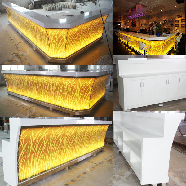 2017 factory price high quality modern commercial illuminated led bar counters