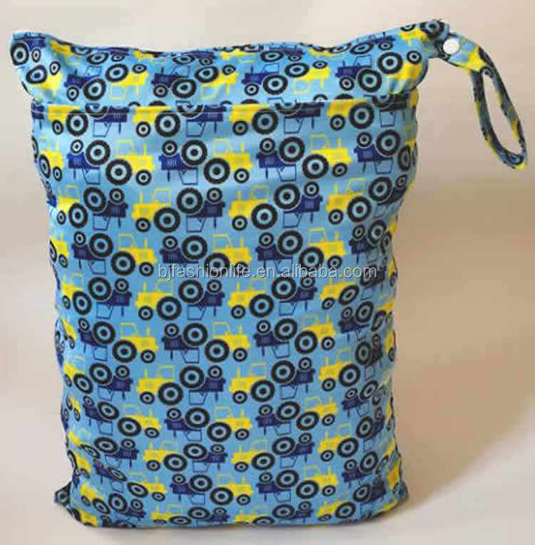 Naughtybaby double zipper Print travel cloth diaper Wet bag two pockets nappy pail liner with snap handle