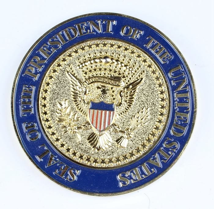 Custom Design 금 나 Sliver 도금 Soft Enamel USA Trump Metal 도전 Coin
