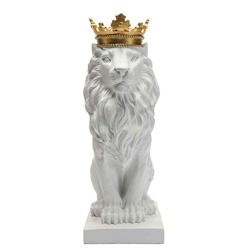 Resin handicraft statues royal crown lion statue black and white lion statue