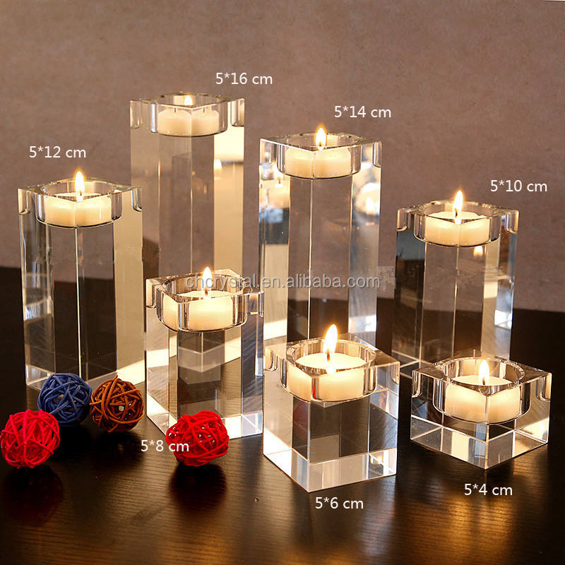 Dining Table Solid Crystal Candlestick Transparent candle holders MH-TZ0317