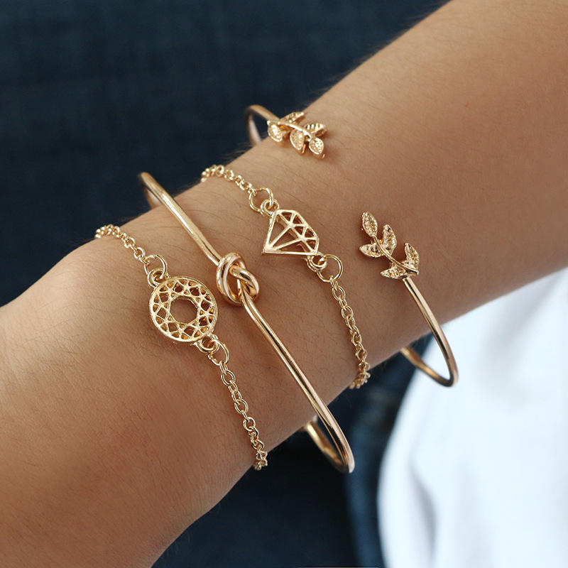 Vintage leaf knotted hollow diamond lady bracelet 4pcs/set bracelet set